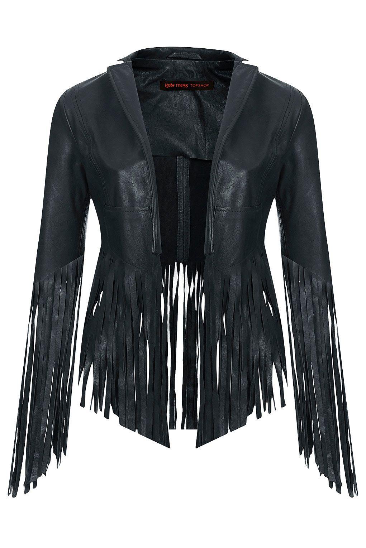 Leather jacket with fringe - Fringed Leather Jacket By Kate Moss For