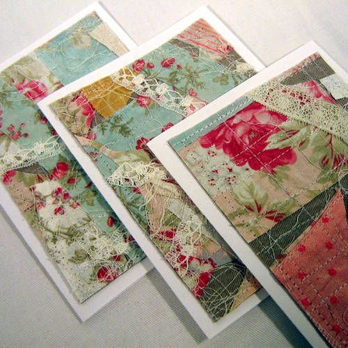 Scrap Fabric Note Cards (Updated 3/26) - PAPER CRAFTS, SCRAPBOOKING & ATCs (ARTIST TRADING CARDS) #scrapfabric