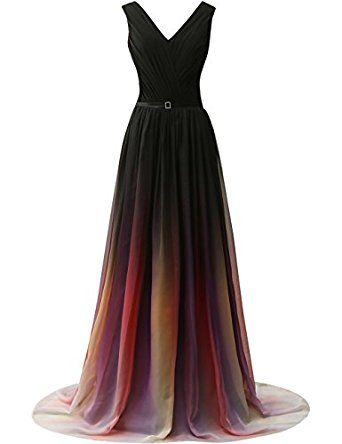 Amazon.com: JAEDEN Gradient Chiffon Formal Evening Dresses Long Party Prom Gown: Clothing