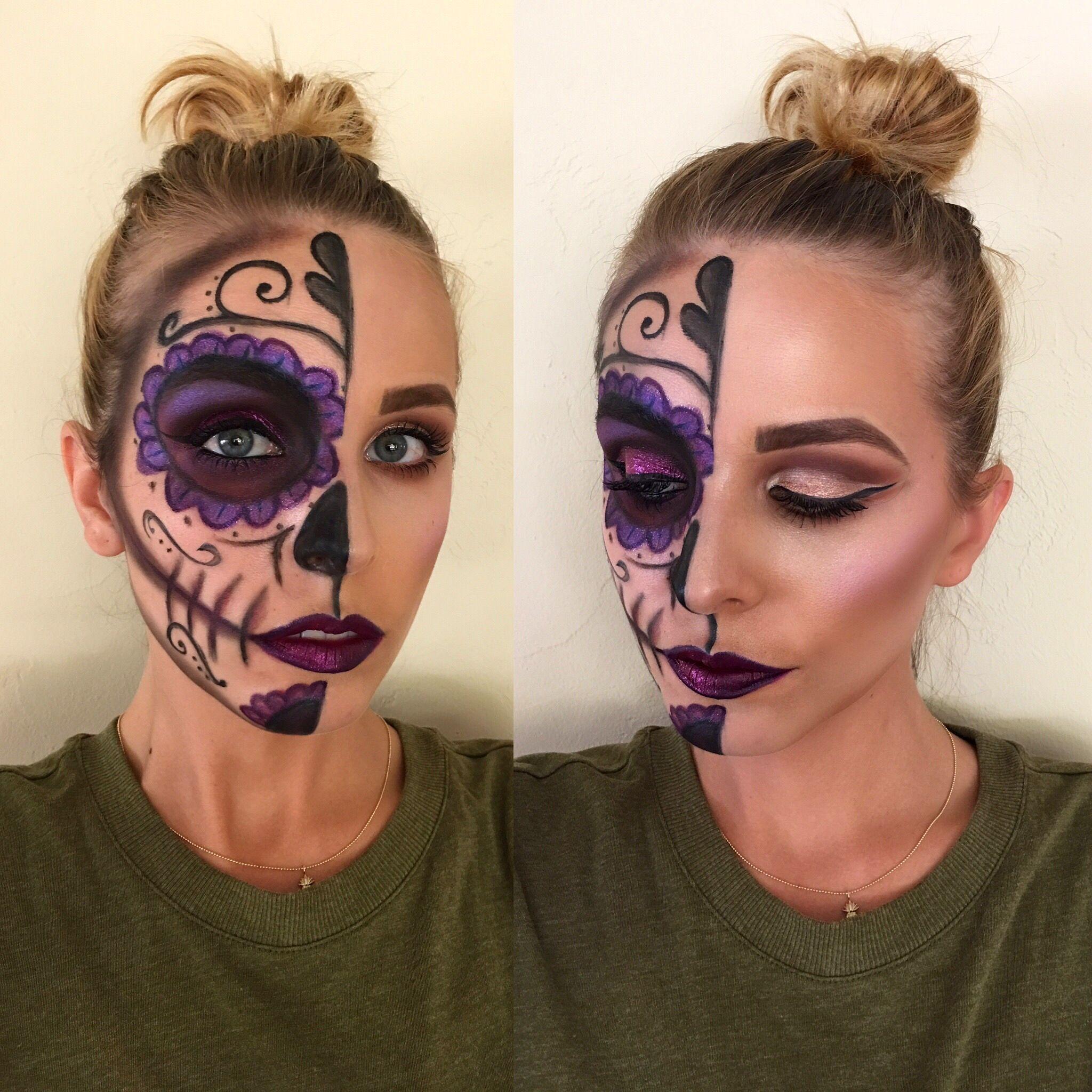 jillianrubymua Sugar skull Halloween makeup. Maquillaje
