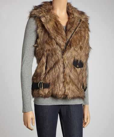 Another great find on #zulily! Tan Moto Faux Fur Vest by Lucca Couture #zulilyfinds