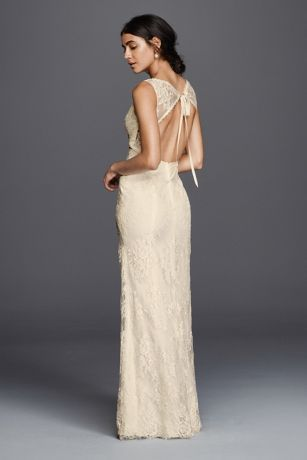 Flower Lace V Neck Wedding Dress With Empire Waist Style KP3783