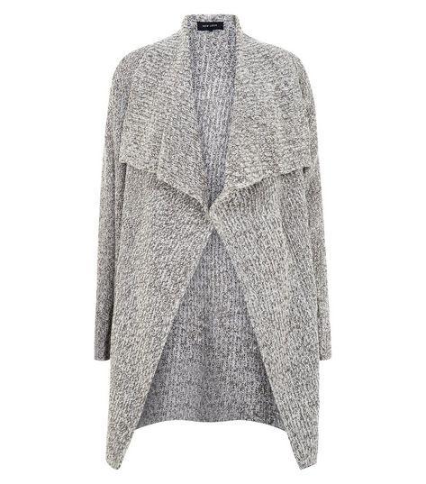 Grey Ribbed Waterfall Cardigan | Womens knitwear, Gray and Knitwear