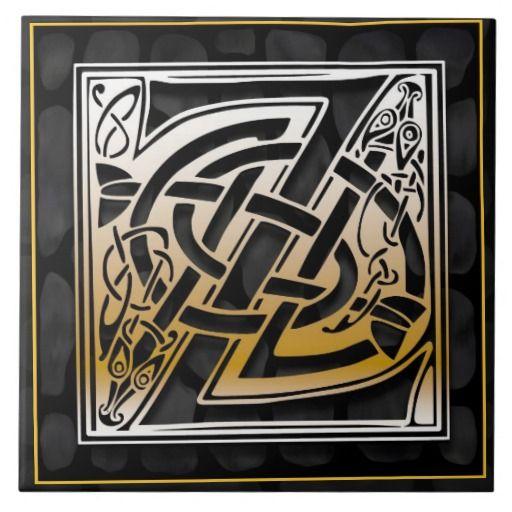 Celtic Black Stone Z Monogram Initial Tile
