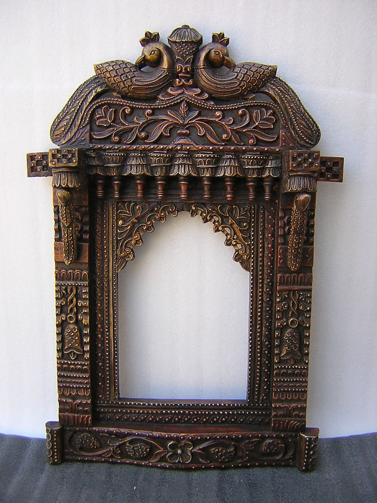 Beautiful Wooden Hand Crafted Mirror With Peacock Design Mirror