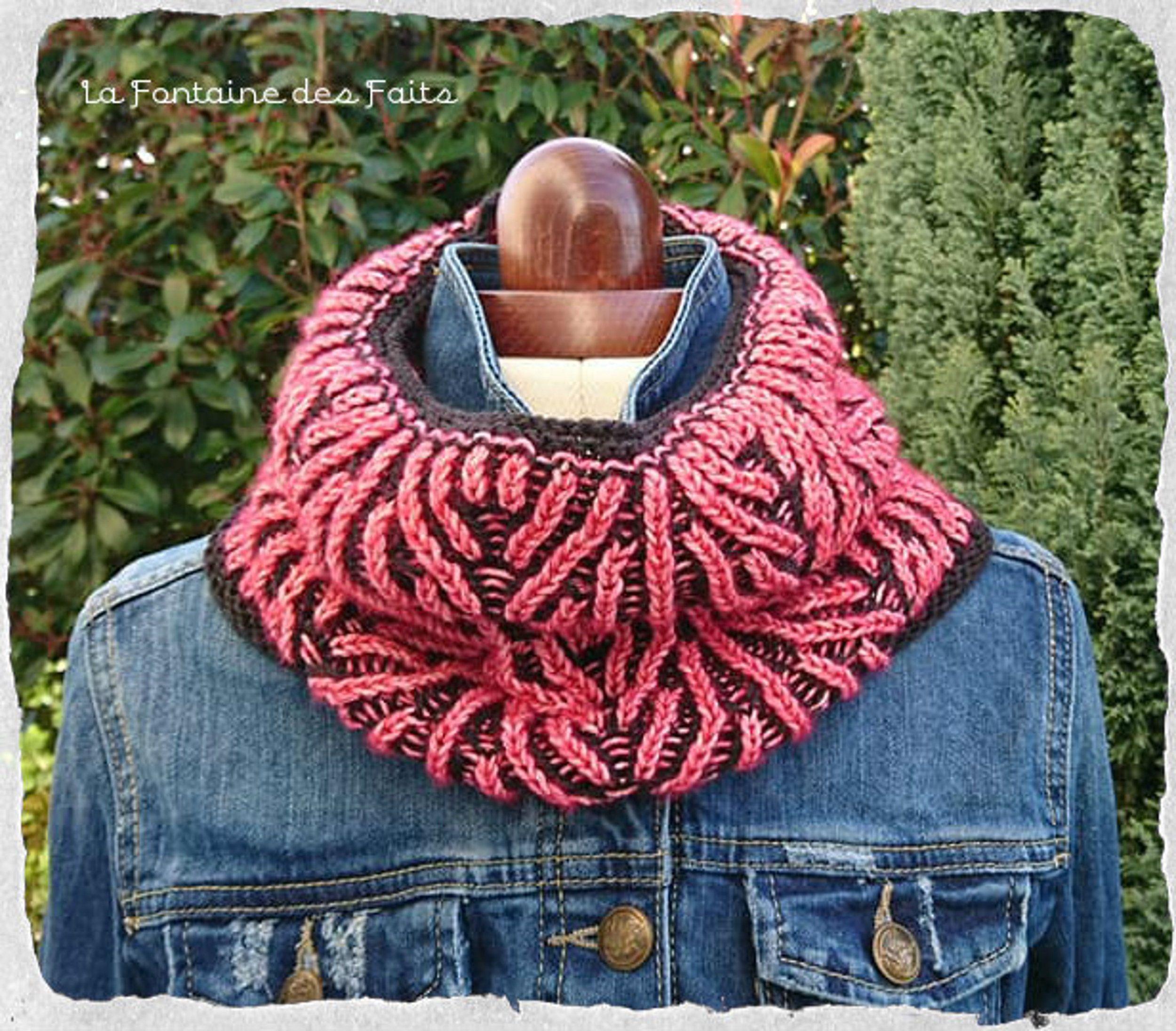 Reversible Snood Point Brioche Knit Knit Fancy šalles