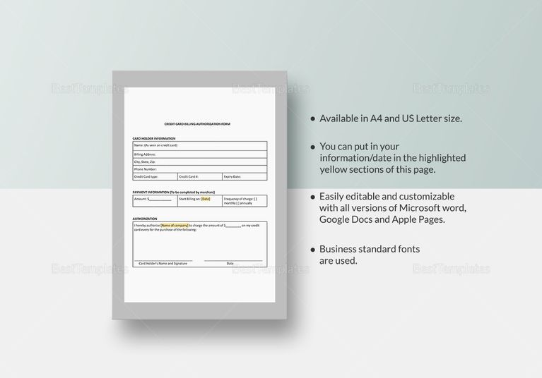 Credit Card Billing Authorization Template  Document Design
