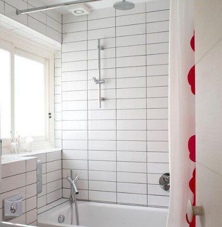 dark grout with white tile white