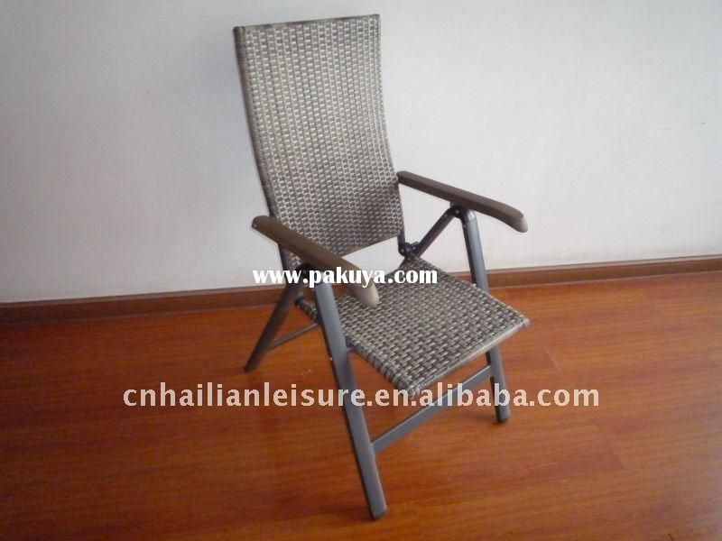Garden Folding Rattan Chair With Plastic Wood Handle .