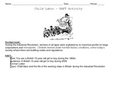 Industrial Revolution Child Labor Raft Activity With Rubric From