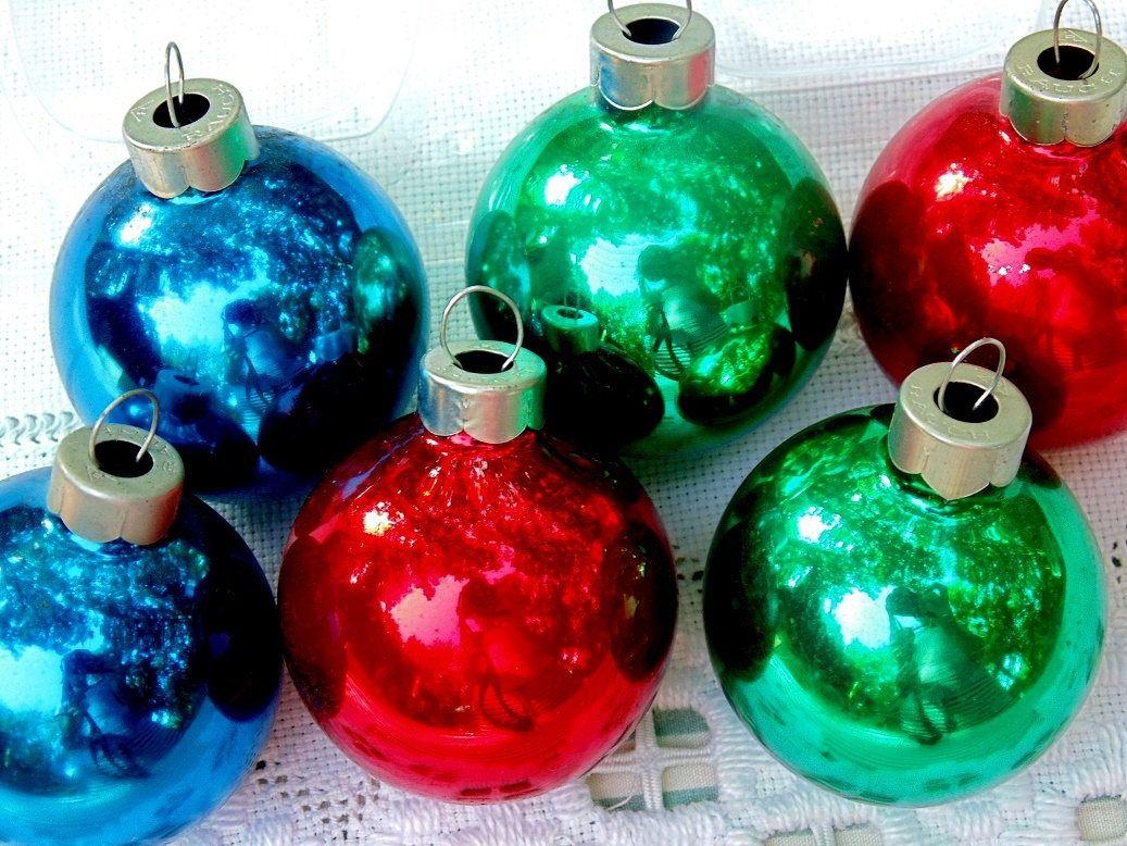 Vintage Christmas ornaments long tear droop glass 1960/'s set of 5