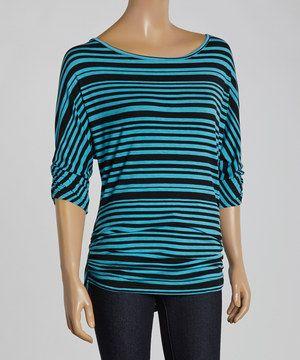 Love this Chris & Carol Teal Stripe Ruched Three-Quarter Sleeve Top by Chris & Carol on #zulily! #zulilyfinds