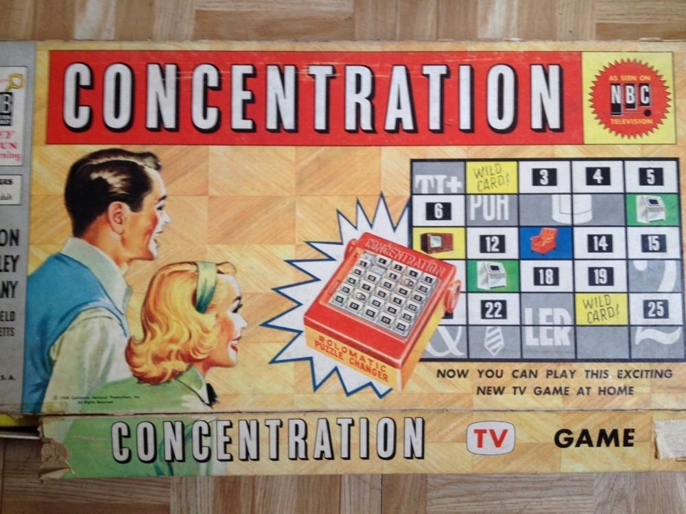 Concentration board game by milton bradley complete 1958