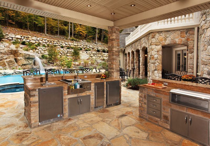 Elaborate Kitchens Such As This One Often Have Undercounter Refrigerators Freezers Wine Coolers A Covered Outdoor Kitchens Backyard Kitchen Outdoor Kitchen