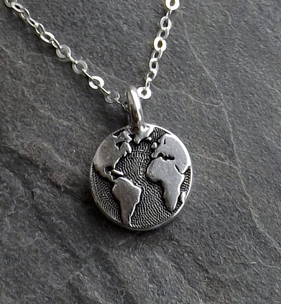 925 Sterling Silver Plane World Planet Globe Charm Pendant for Jewelry Making