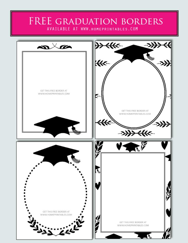 15 Free Graduation Borders With 5 New Designs Home Printables Wisuda Pencetakan