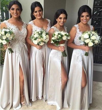 long bridesmaid Dresses, slit bridesmaid dress, lace bridesmaid dress, light gray bridesmaid dress, FS555 from lovebridal