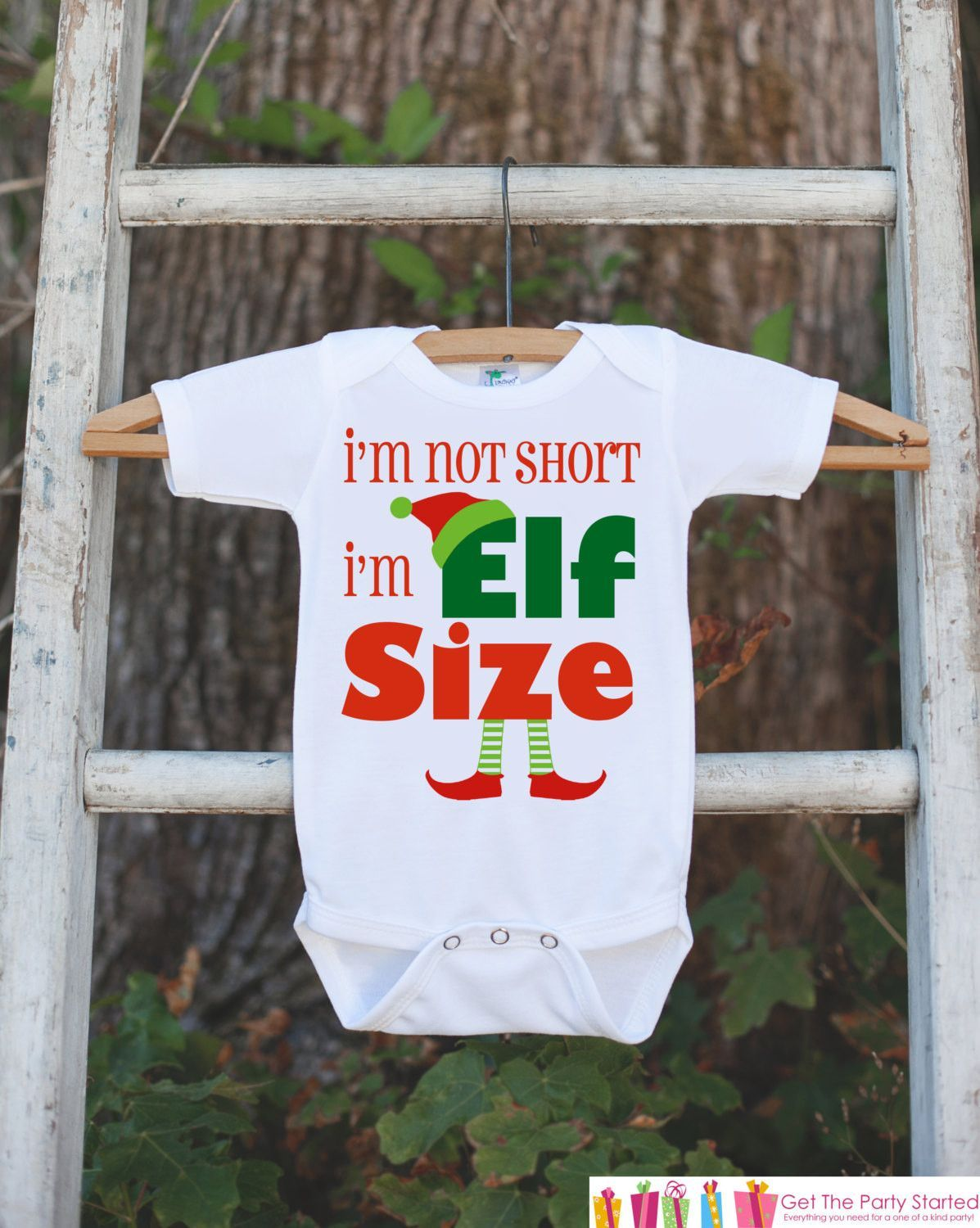 f72ca11ef Kids Christmas Outfit - I'm Not Short I'm Elf Size Christmas Onepiece - Christmas  Shirt - Baby's First Christmas - Baby Boy or Baby Girl Elf