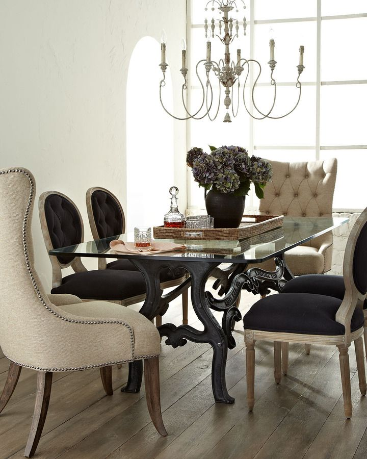 Stockard Dining Table, Donabella Tufted Chairs, & Black Linen Chairs ...