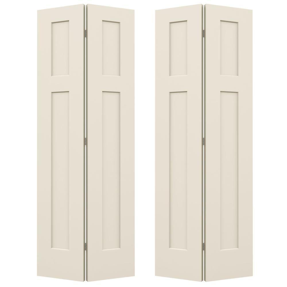 Jeld Wen 36 In X 80 In Smooth 3 Panel Craftsman Hollow Core Molded Interior Closet Composit Folding Closet Doors Bifold Closet Doors Craftsman Interior Doors