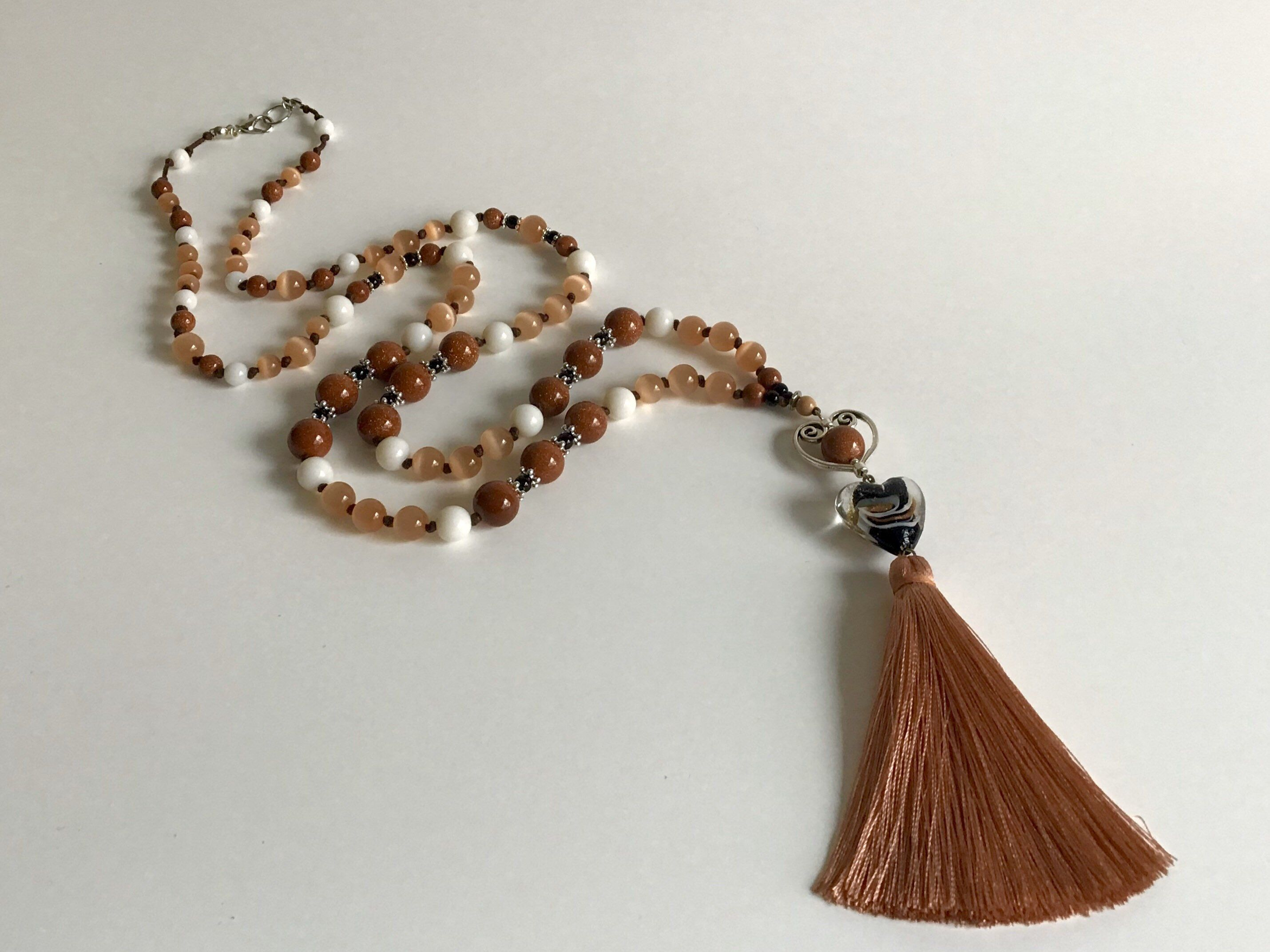 Brown & Beige Necklace with Tassel, Heart Charm Necklace, Bohemian Necklace, Quartz Necklace, Pendant Necklace