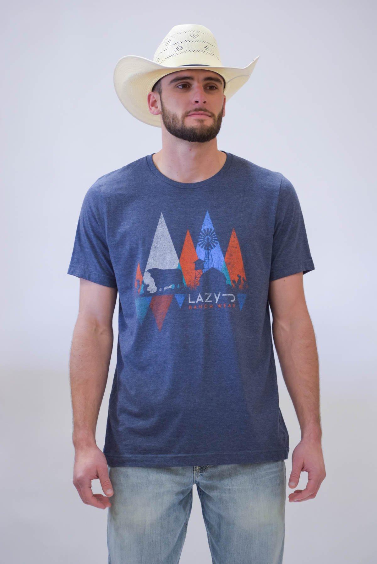 Lazy J Windmill Triangle Navy Short Sleeve T Shirt | Mens