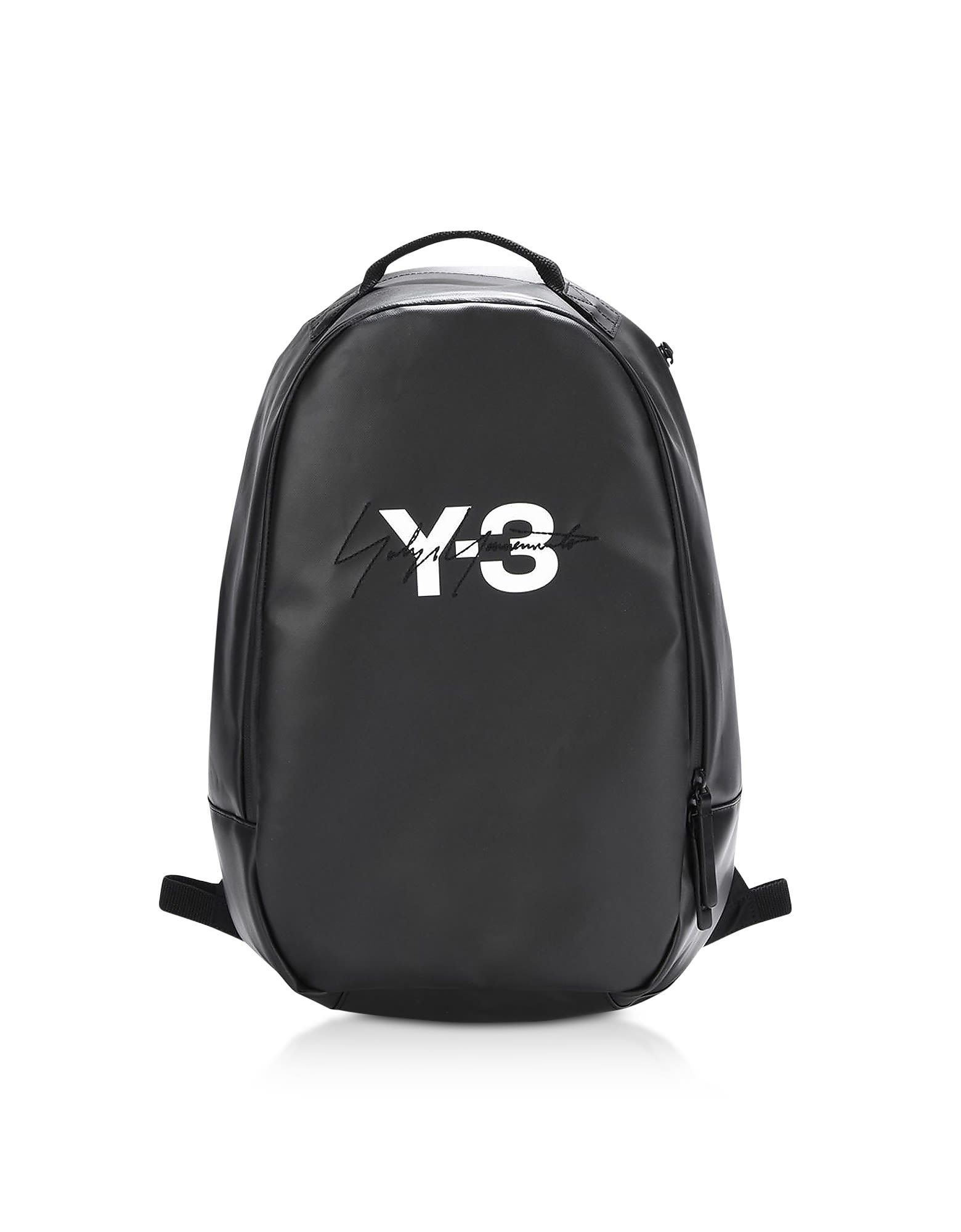 a94e941b6b Y-3 BLACK COATED CANVAS SIGNATURE BACKPACK.  y-3  bags  lining  canvas   backpacks  cotton