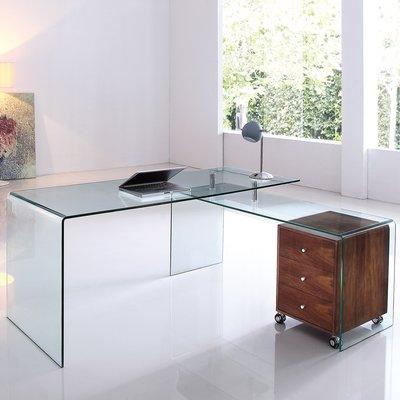 Orren Ellis Bogardus Executive Desk With Clear Glass Home Office Design L Shaped Executive Desk Executive Desk