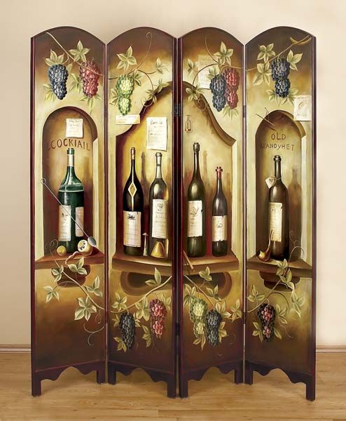 Wine Themed Home Decor: Tuscany One Themed Room Divider Screen 72746-
