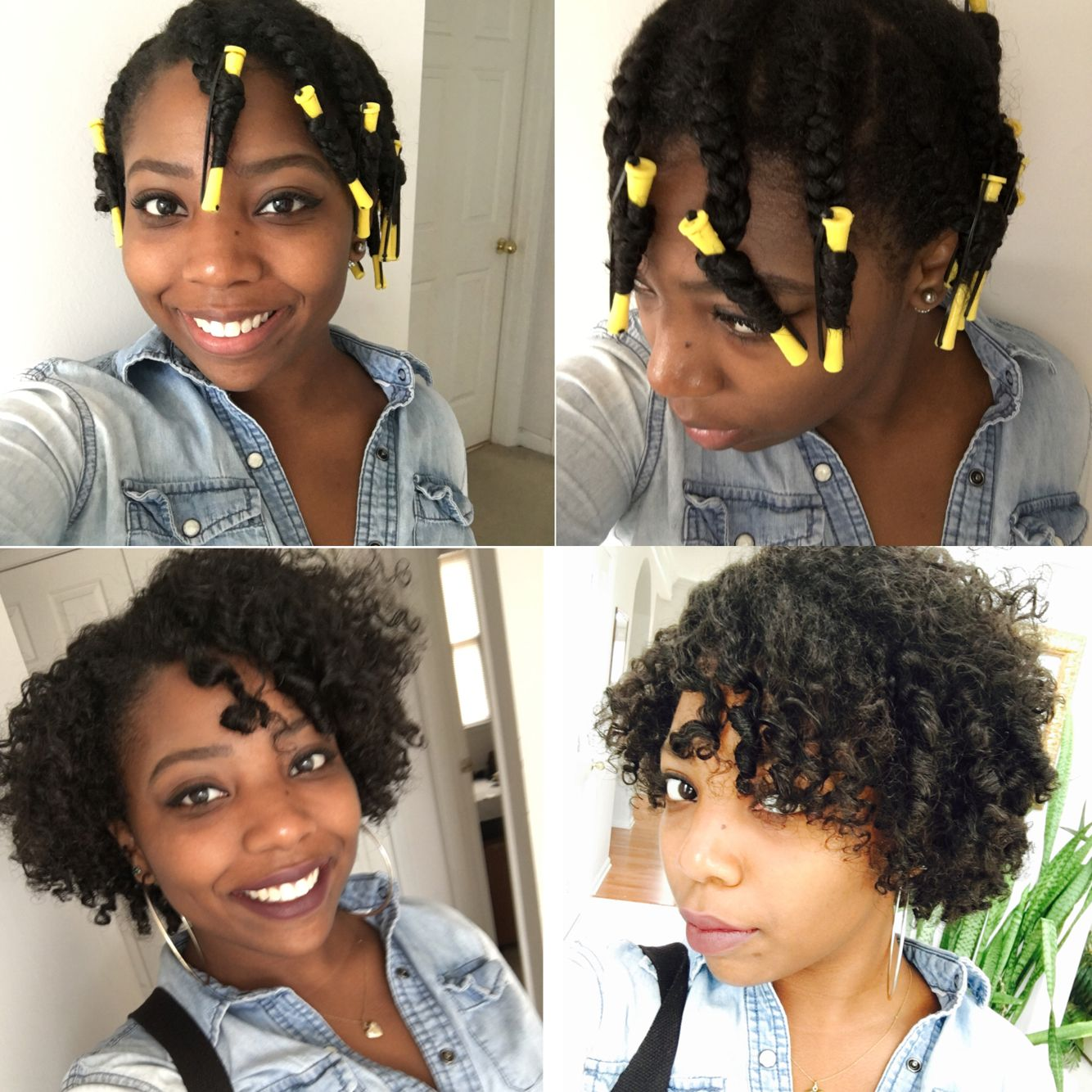 Braid Out With Yellow Perm Rods At The Ends With Images How To