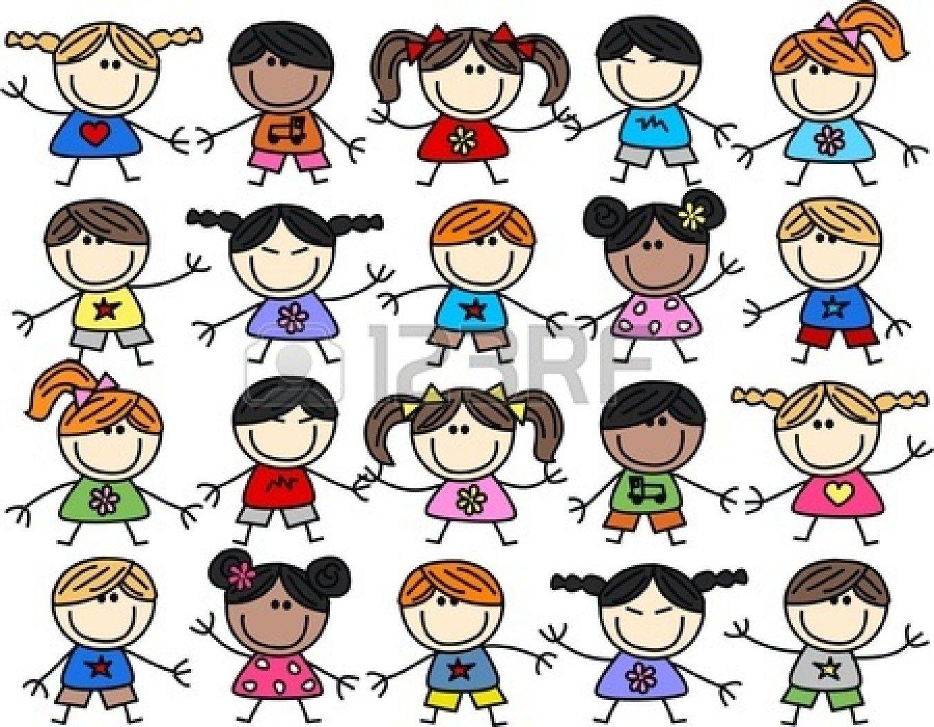 Mista Etnica Felice Sfondo Di Bambini Schizzi Dei Fumetti Disegni Bambini Immagini