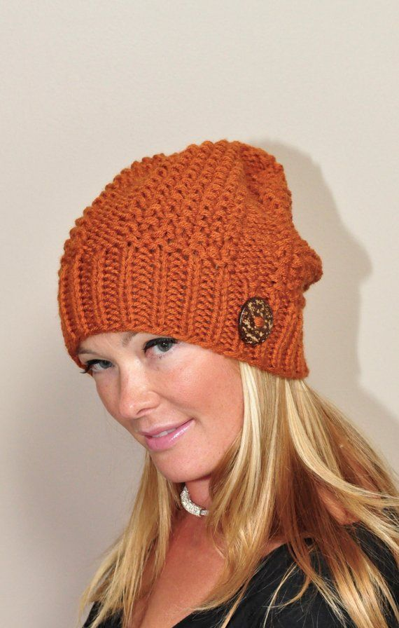 52f40775a27 Slouchy Beanie Slouchy Hat Women Knitted Hat Winter Hat CHOOSE COLOR  Pumpkin Spice Autumn Fall Chris