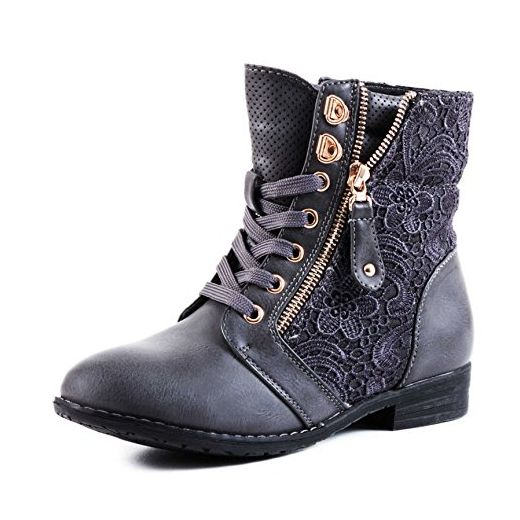 Stylische Damen Stiefeletten Worker Boots Spitze in