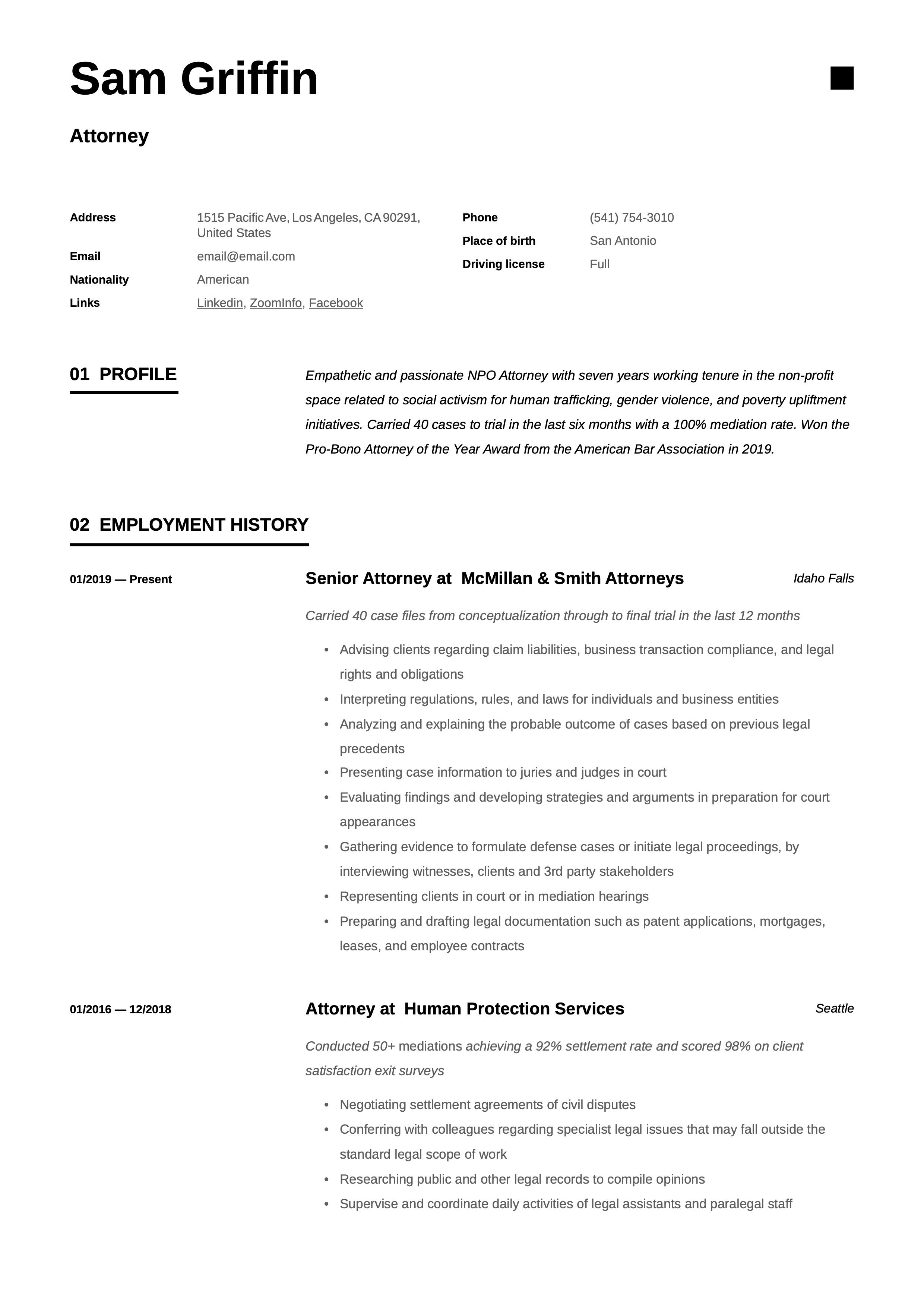 Attorney resume template in 2020 resume examples