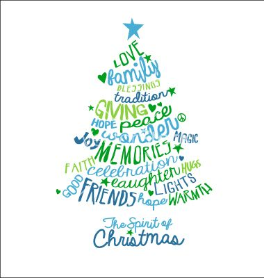 Handwritten christmas tree typography card design vector - by - christmas card templates for word