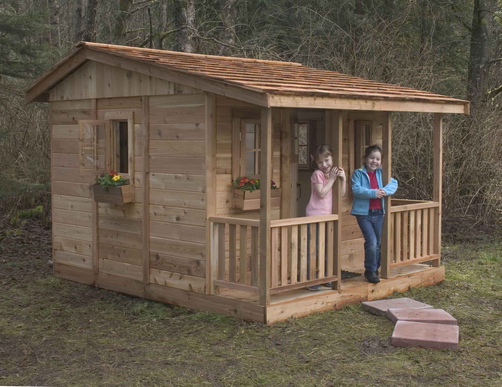 Cozy Cabin 9' X 7' Cedar Playhouse Backyard Pallet