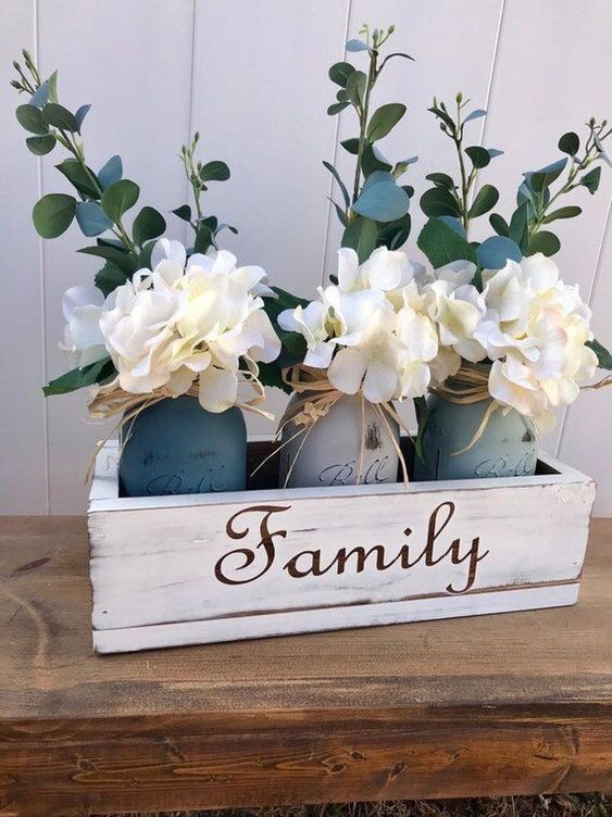 Dining Table Centerpiece, Rustic Home Decor, Floral Centerpiece, Mason Jar Decor, Floral Arrangement, Bedroom decor - #Arrangement, #Bedroom #Centerpiece #decor #dining #Floral #Home #Jar #Mason #Rustic #Table