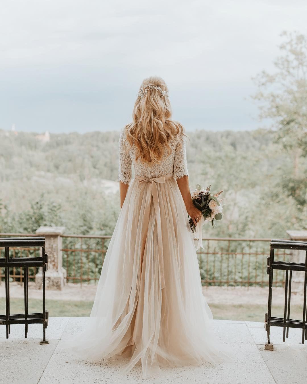 Simple Yet Sophisticated In 2020 Beige Wedding Dress Beige Wedding Wedding Dresses
