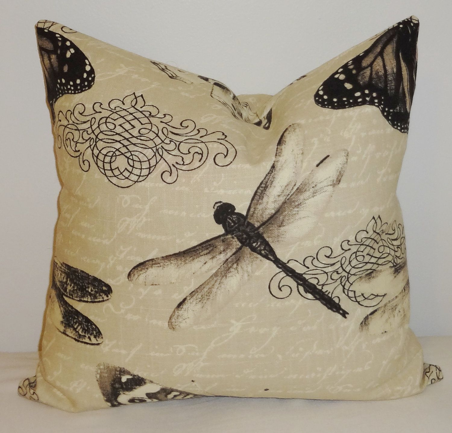 Butterfly Dragonfly Natural Print Decorative Pillow Throw Pillow