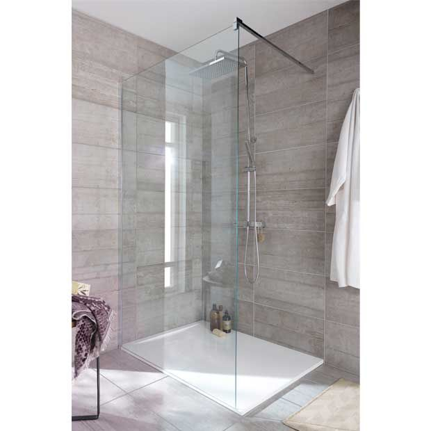 Carrelage murs et sols beton lapeyre salle de bains - Paroi de verre douche italienne ...