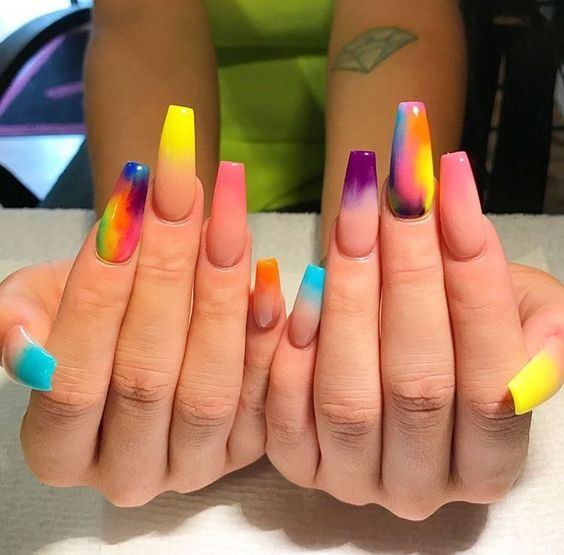 Multicolored Coffin Nails | N A I L S in 2018 | Pinterest ...