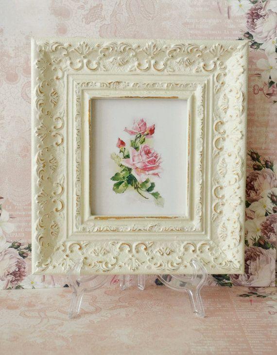 Beautiful Vintage Cream Frame with Rose | Vintage ...
