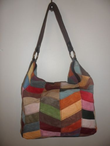 Lucky Brand Multi Colored Leather Suede Patchwork Hobo Handbag Purse Bag Tote 11 Ebay