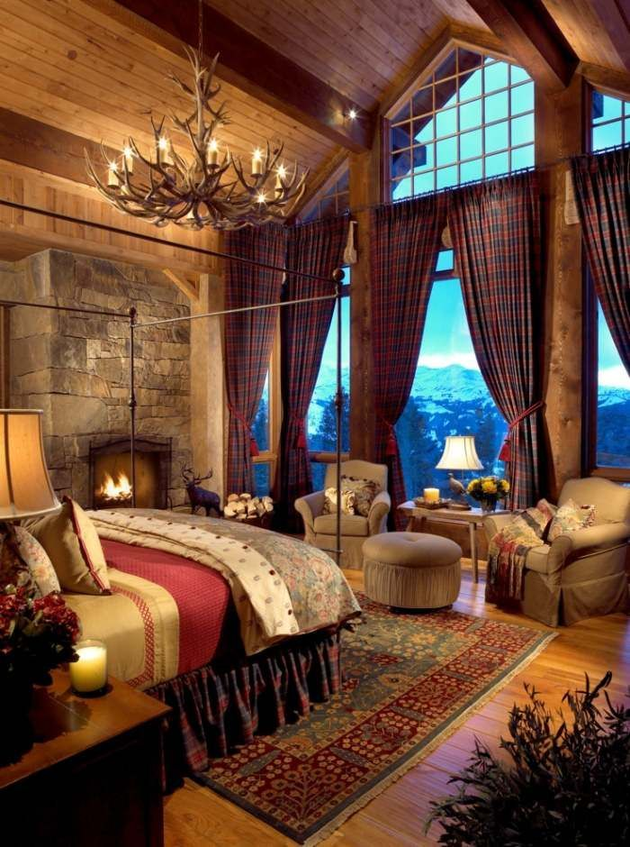 Photo of romantic bedroom design, furniture, textiles and decoration in country style …