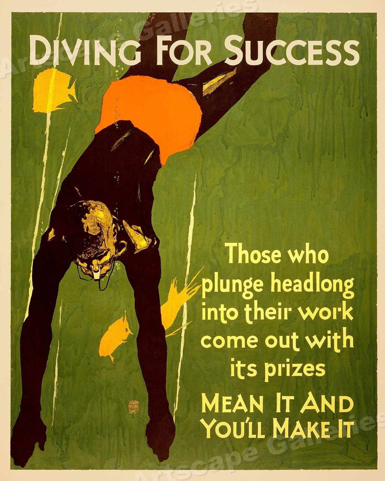 1920s Mather Business Motivational Poster Diving For Success 16x20