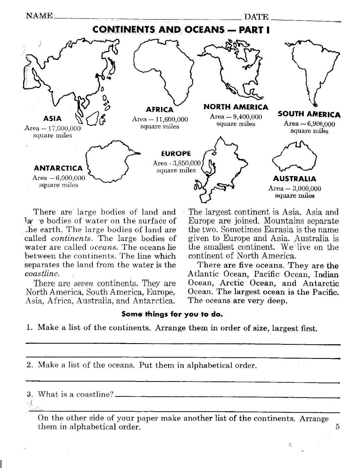 Oceans And Continents Worksheets Printable Continents And