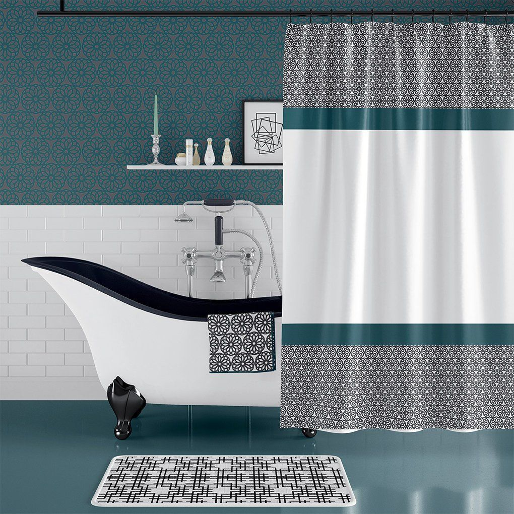 Classic Black And White Shower Curtain Teal Green Bathroom Decor