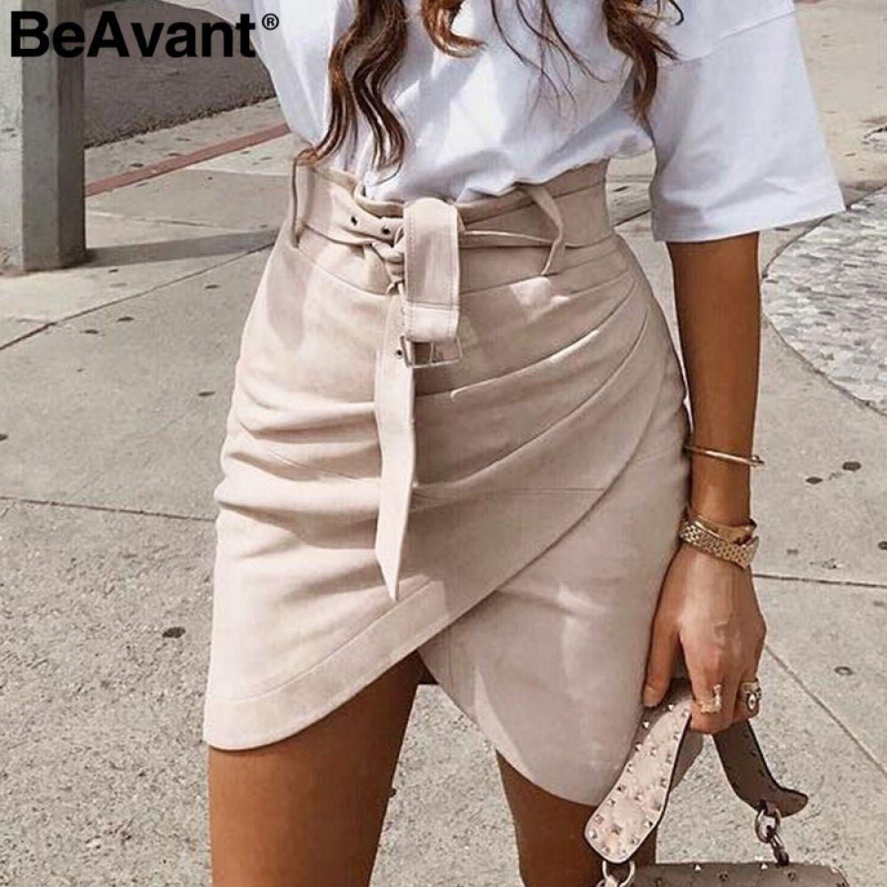 BeAvant Asymmetric suede leather skirts womens Sash high waist winter skirt female Ruched bodycon pink short skirt autumn 2018