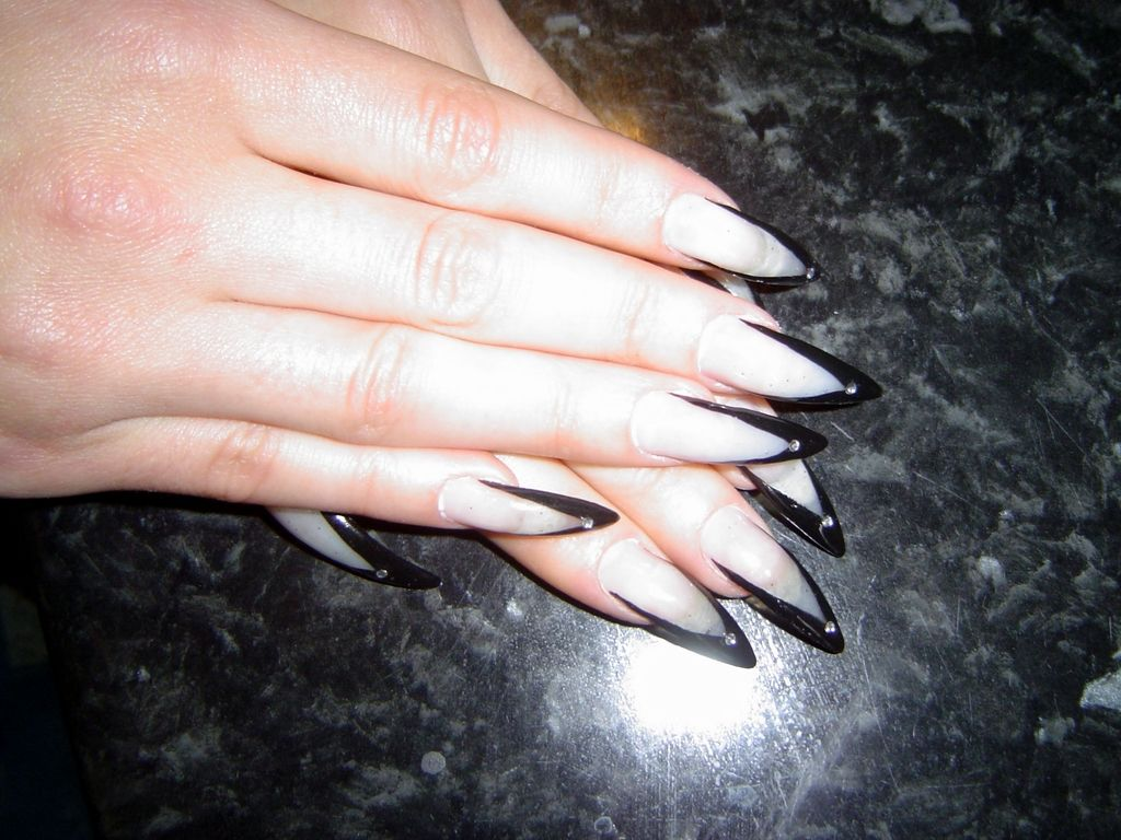 French Claws Nail Art 2 Models With Black And White Colors Nail