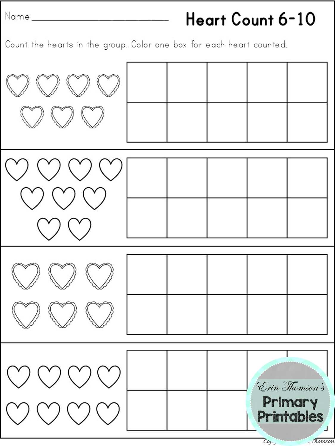 Count To 10 Valentine S Day Math Worksheets For